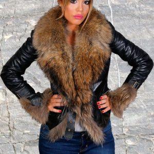 Ženska kožna jakna sa krznom