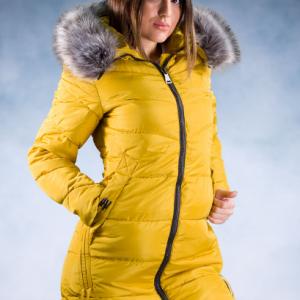 ženska zimska jakna žuta