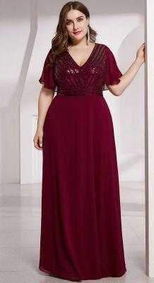 Svečana duga bordo haljina