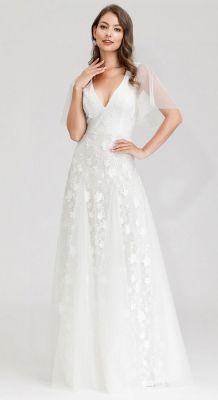 Bela haljina sa providnim rukavima