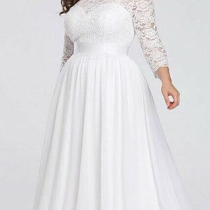 Bela haljina sa čipkanim rukavima