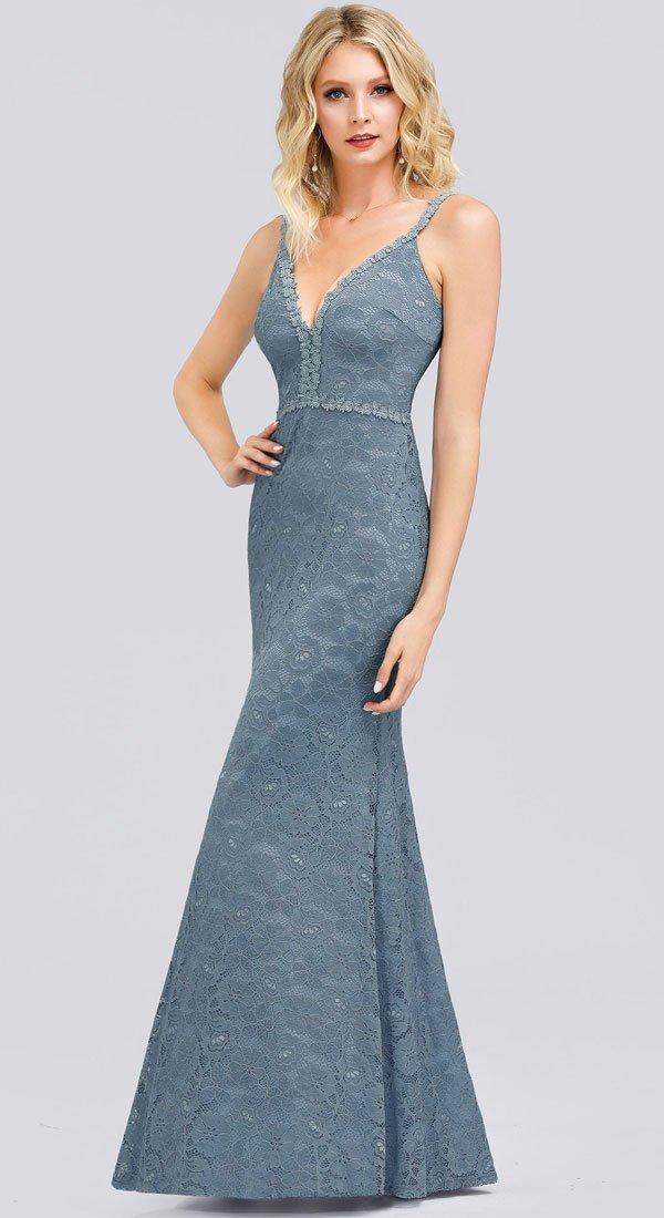 Plava haljina od čipke