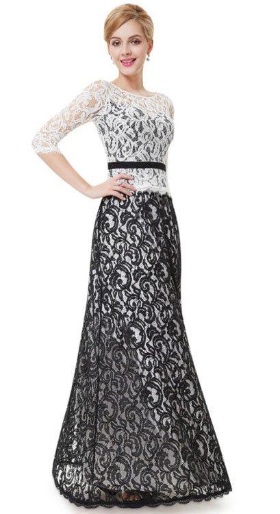 Crno bela haljina od čipke