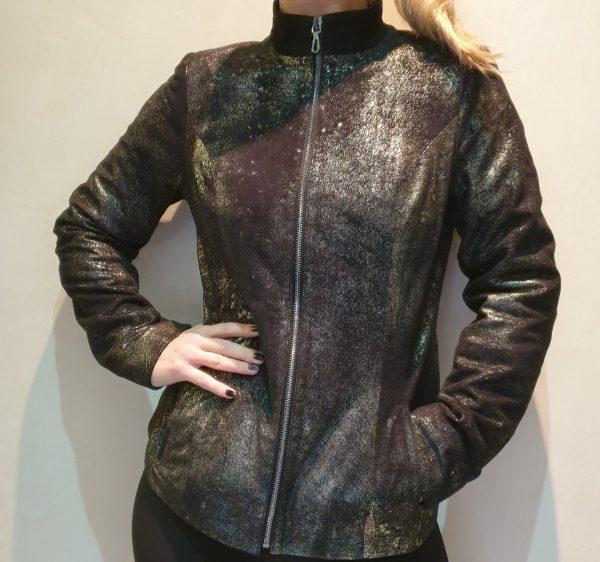 Crna kratka jakna melirana