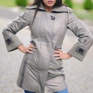 Siva duga kožna jakna 1